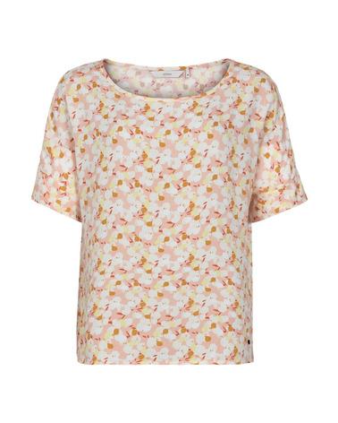 Smuk og sommerlig Nümph NuBabette Bluse med masser af fine farver i printet Pink Sand