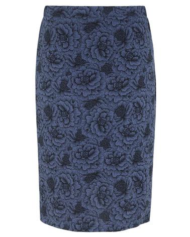 Rosemunde nederdel 4453 I skøn viskose-kvalitet i printet true navy rose print. Her set bagfra