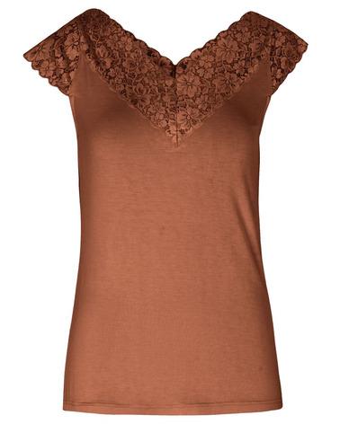 Smuk Viskose T-shirt 4842 med blondekant ved udskæringen i flot Amber Brown nuance fra Rosemunde