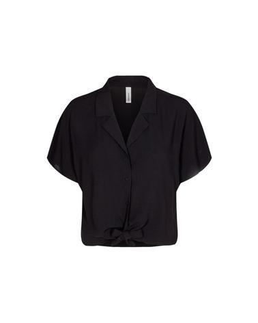 Sort kortærmet Soyaconcept Radia 69 skjorte med bindebånd. Her set forfra