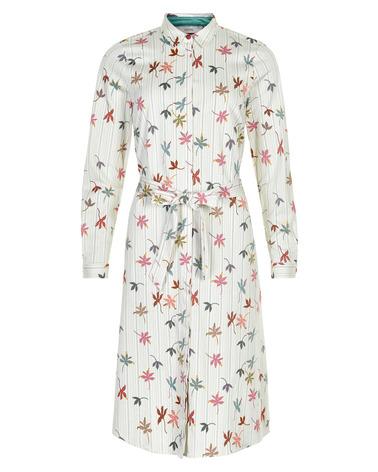 Smuk Nümph NuAbbeline skjortekjole med bladprint og bindebånd