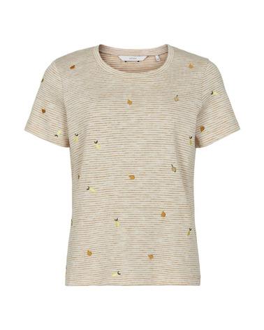 Den fineste T-shirt med små broderede citroner på fra danske Nümph. NuBrealyn T-shirt i farven Harvest