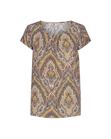 Soyaconcept Illa 2 Bluse i fint paisley-print. Her i gule nuancer
