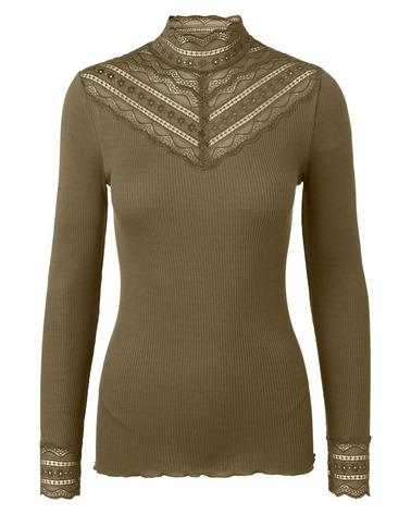 Smul silkebluse med høj hals. Rosemunde Benita Silk T-Shirt Regular 5023