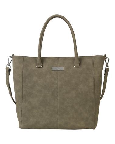 Ny flot stor taske eller shopper i imiteret ruskind i flot olivengrøn nuance. Rosemunde Napoli Bag B0196