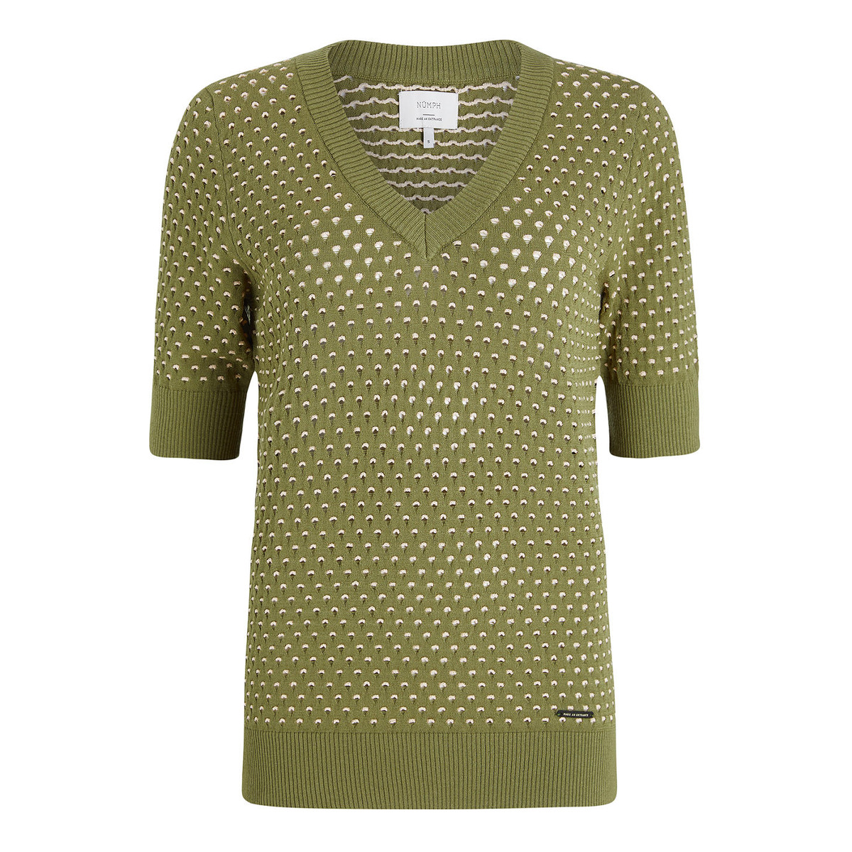 Den smukke NuBrynn Pullover i flot olivengrøn nuance. Nümph Nubrynn Pullover