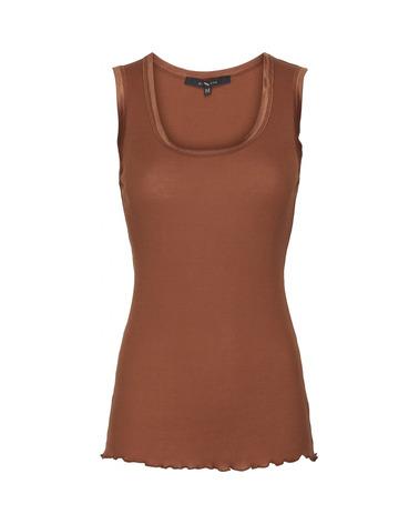 Her er det silketop fra BTFCPH i den flotte nuance Tan Brown. BTFCPH Basic Jersey Top