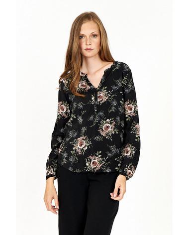 Smuk skjortebluse med blomster-print.   i klassisk sort. Soyaconcept Lenia 2 Bluse