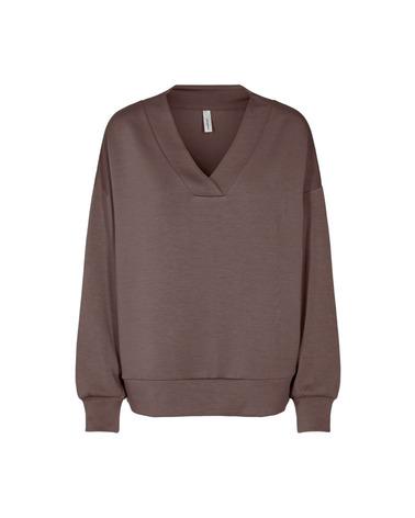 Soyaconcept Banu 9 Sweatshirt. Lækker sweatshirt fra Soyaconcept. Her set forfra i farven Dark Brown.