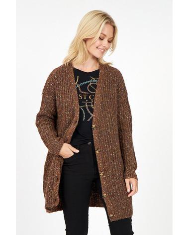 Soyaconcept Lynett 3 Cardigan. Lækker cardigan med uld fra danske Soyaconcept. Her set forfra på model.