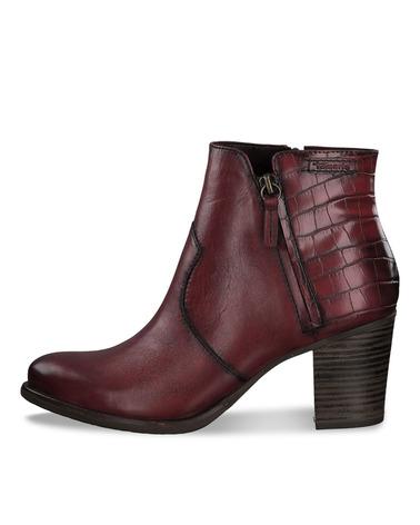 Tamaris Støvle 1/1-25338/25 i lækker læder og tekstil blend. Støvlen er i den smukke farve Scarlet/Croco.